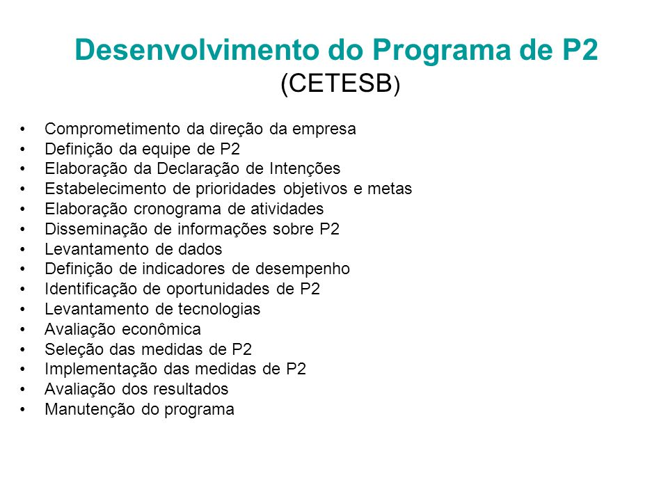 Desenvolvimento do Programa de P2