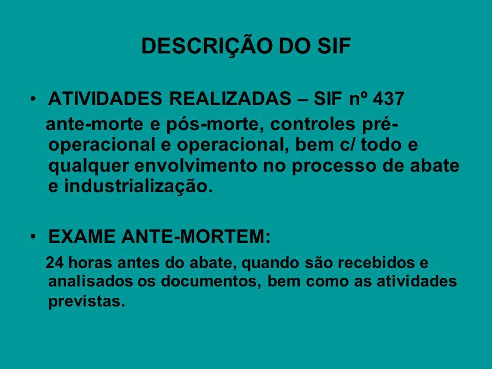 DESCRIÇÃO DO SIF ATIVIDADES REALIZADAS – SIF nº 437