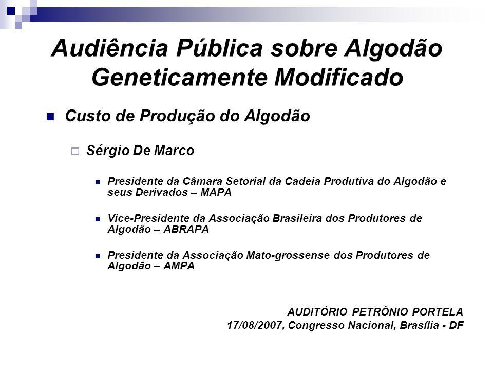 Audiência Pública sobre Algodão Geneticamente Modificado