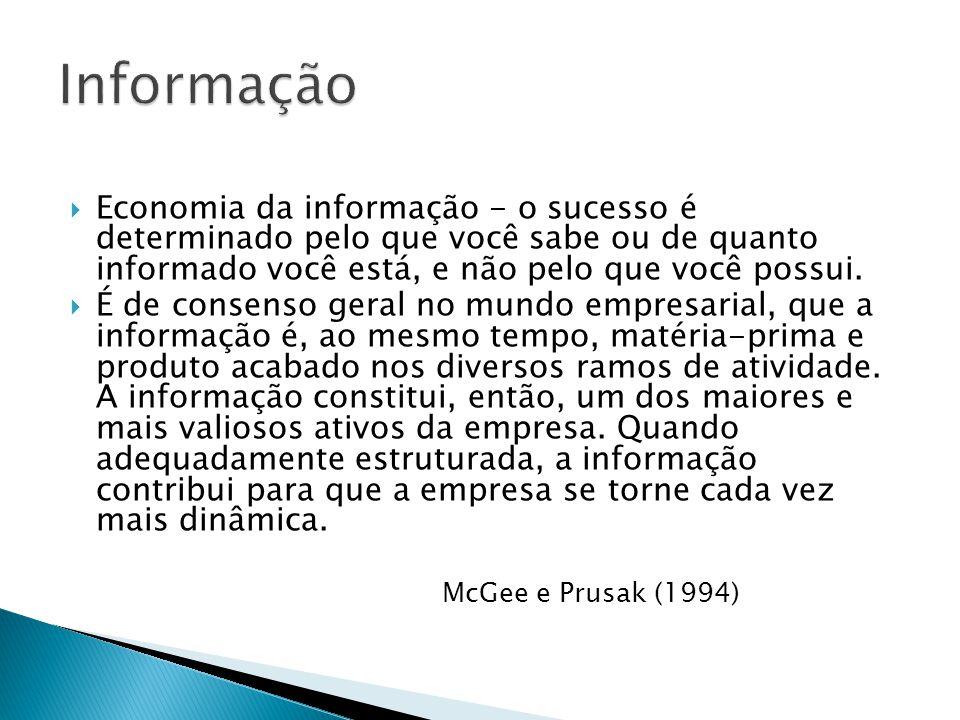 Informação Economia da informação - o sucesso é determinado pelo que você sabe ou de quanto informado você está, e não pelo que você possui.