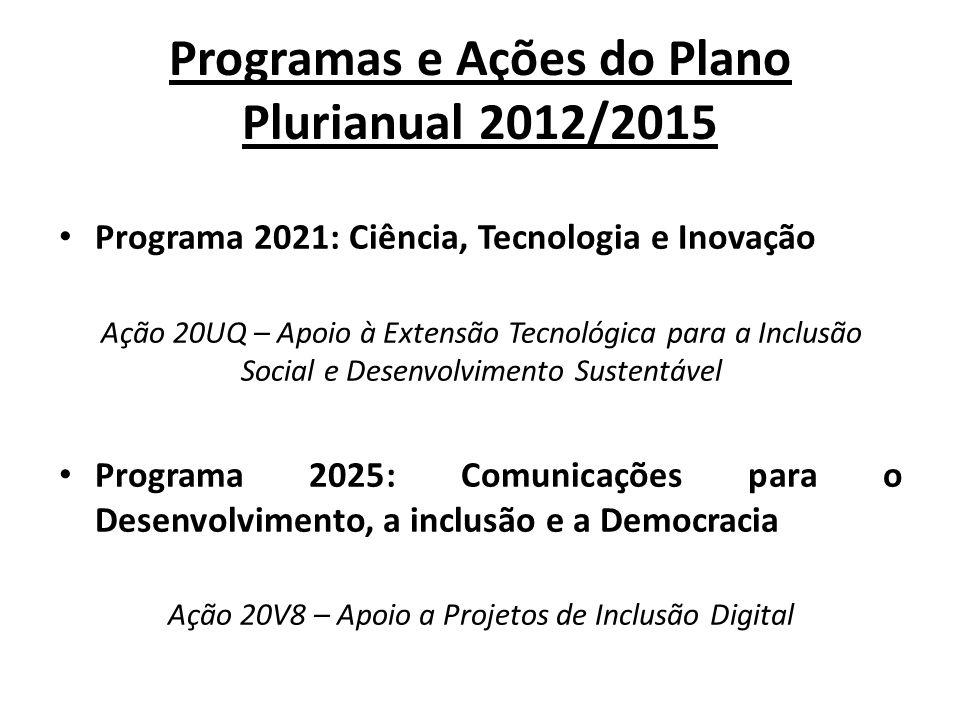 Programas e Ações do Plano Plurianual 2012/2015