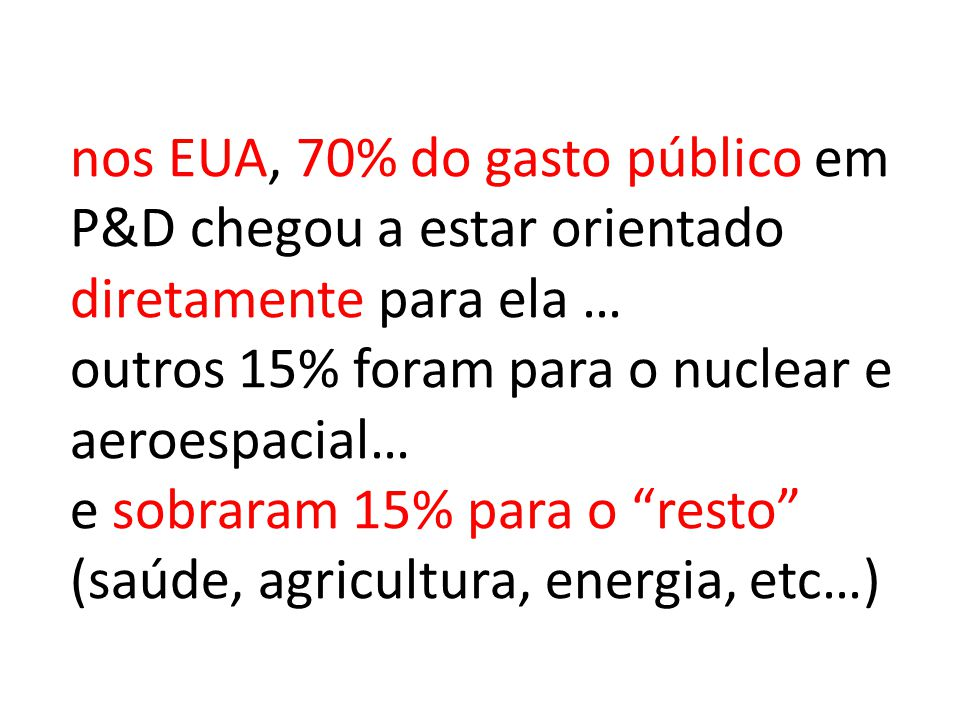 nos EUA, 70% do gasto público em P&D chegou a estar orientado diretamente para ela … outros 15% foram para o nuclear e aeroespacial… e sobraram 15% para o resto (saúde, agricultura, energia, etc…)