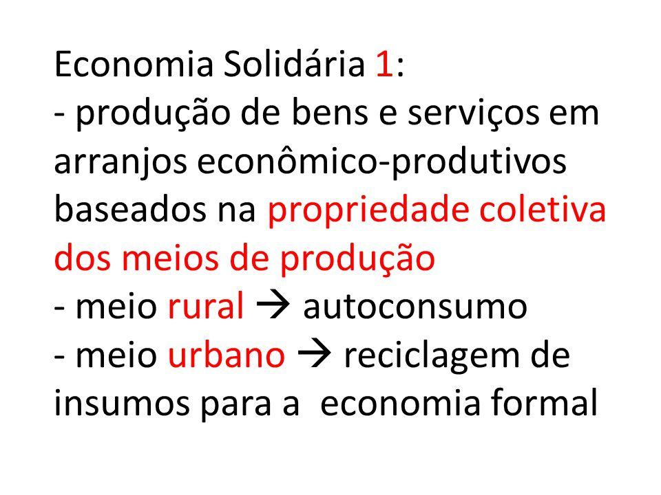 Economia Solidária 1: - produção de bens e serviços em arranjos econômico-produtivos baseados na propriedade coletiva dos meios de produção - meio rural  autoconsumo - meio urbano  reciclagem de insumos para a economia formal