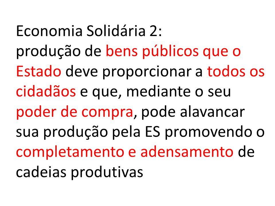Economia Solidária 2: produção de bens públicos que o Estado deve proporcionar a todos os cidadãos e que, mediante o seu poder de compra, pode alavancar sua produção pela ES promovendo o completamento e adensamento de cadeias produtivas