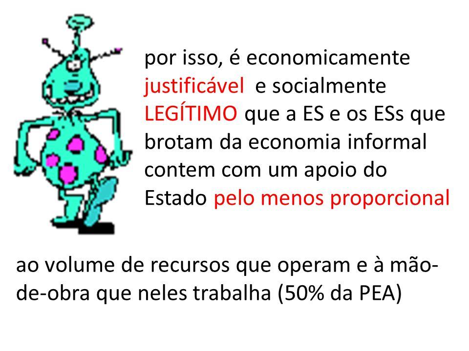 por isso, é economicamente justificável e socialmente LEGÍTIMO que a ES e os ESs que brotam da economia informal contem com um apoio do Estado pelo menos proporcional