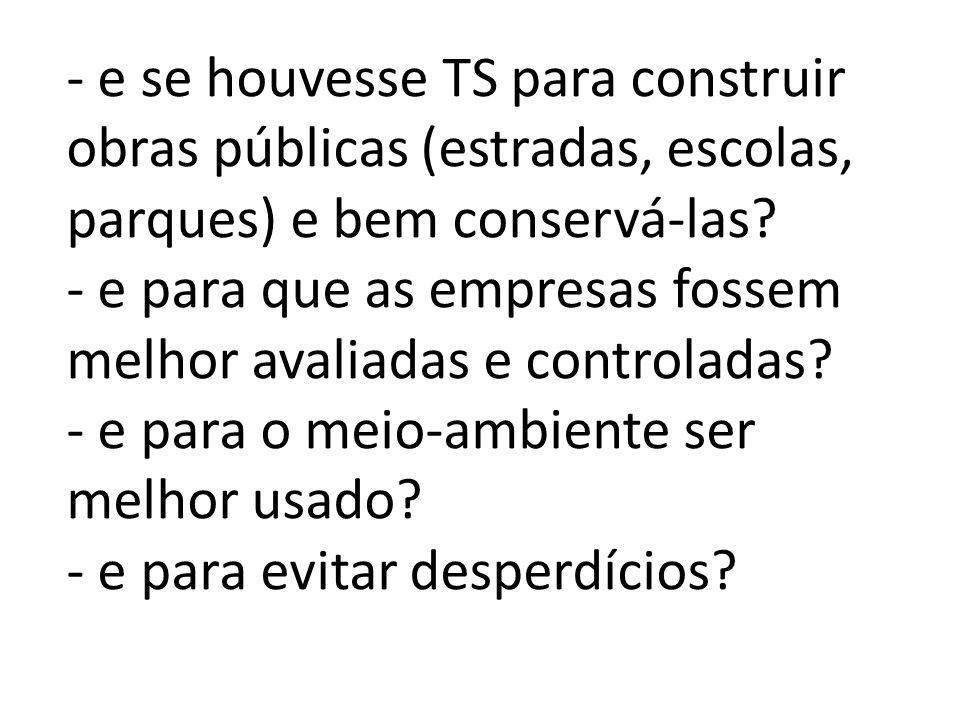 - e se houvesse TS para construir obras públicas (estradas, escolas, parques) e bem conservá-las.