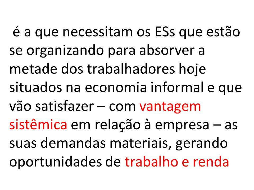 é a que necessitam os ESs que estão se organizando para absorver a metade dos trabalhadores hoje situados na economia informal e que vão satisfazer – com vantagem sistêmica em relação à empresa – as suas demandas materiais, gerando oportunidades de trabalho e renda