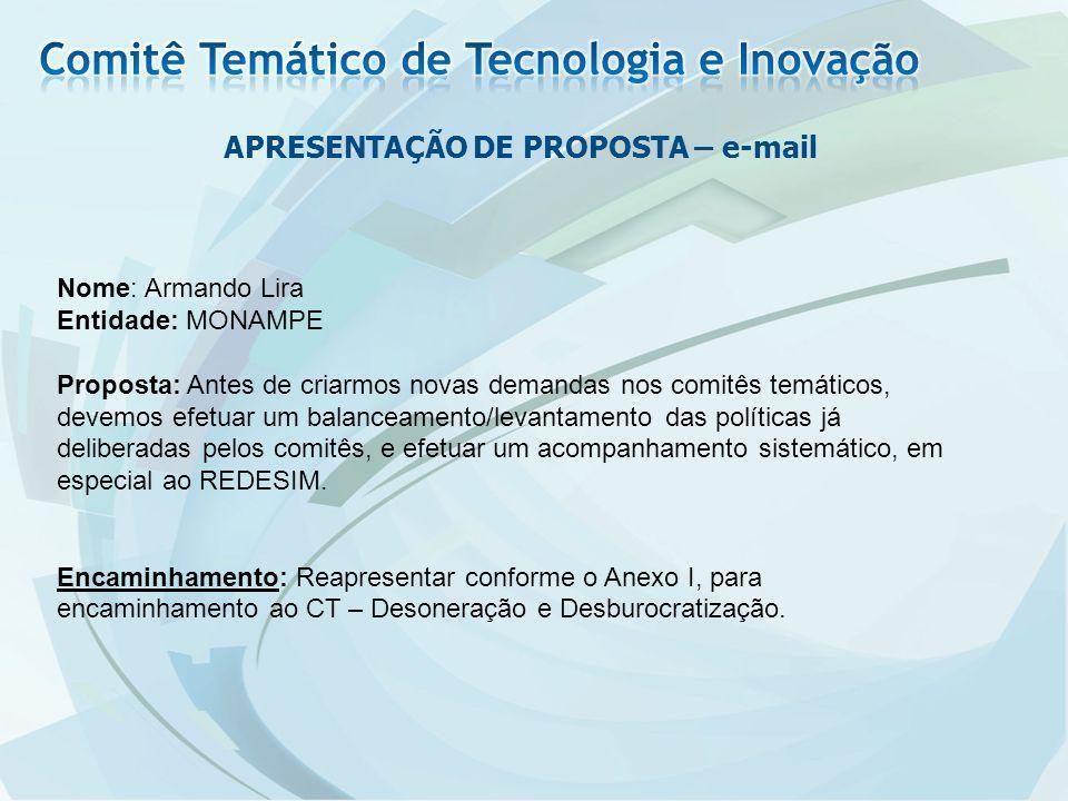 APRESENTAÇÃO DE PROPOSTA – e-mail