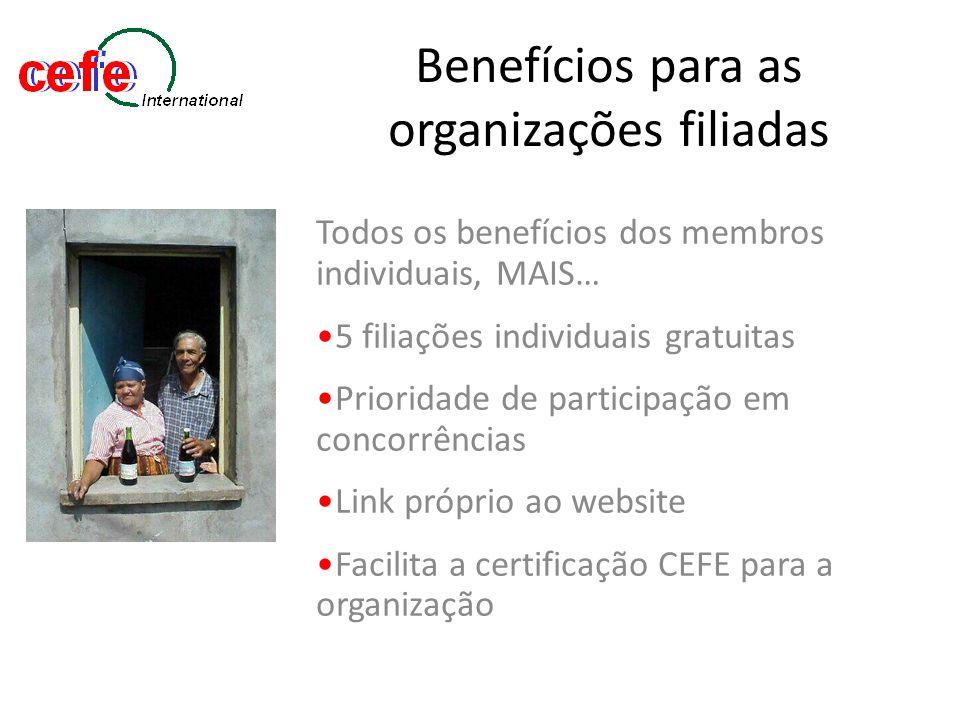 Benefícios para as organizações filiadas