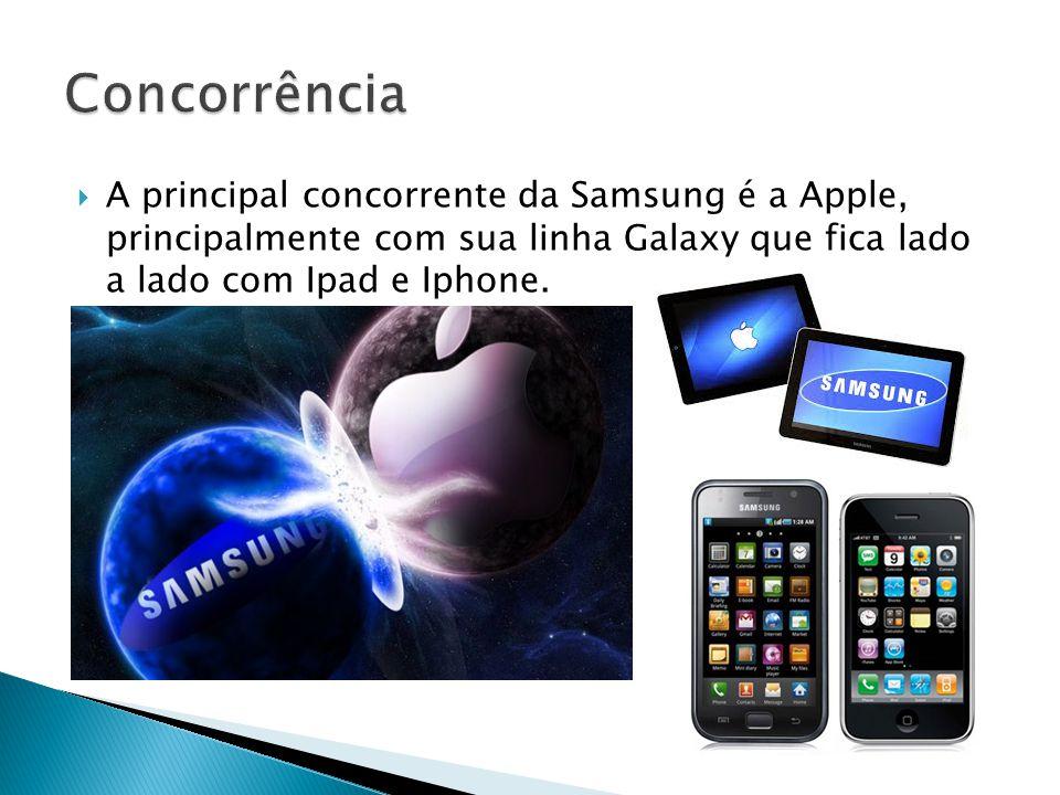 Concorrência A principal concorrente da Samsung é a Apple, principalmente com sua linha Galaxy que fica lado a lado com Ipad e Iphone.