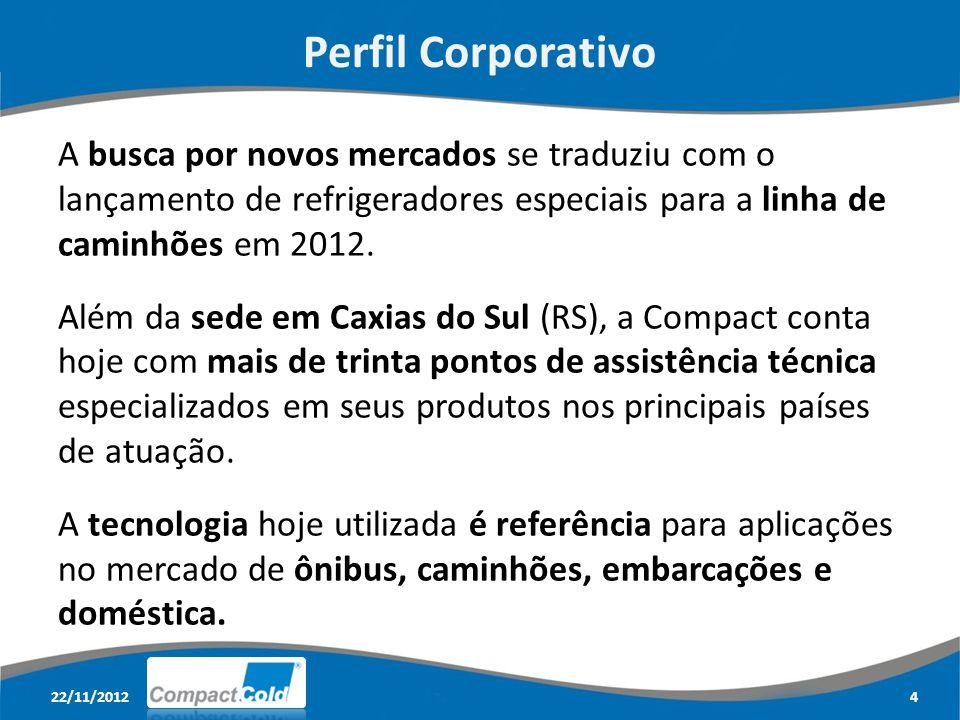 Perfil Corporativo A busca por novos mercados se traduziu com o lançamento de refrigeradores especiais para a linha de caminhões em 2012.