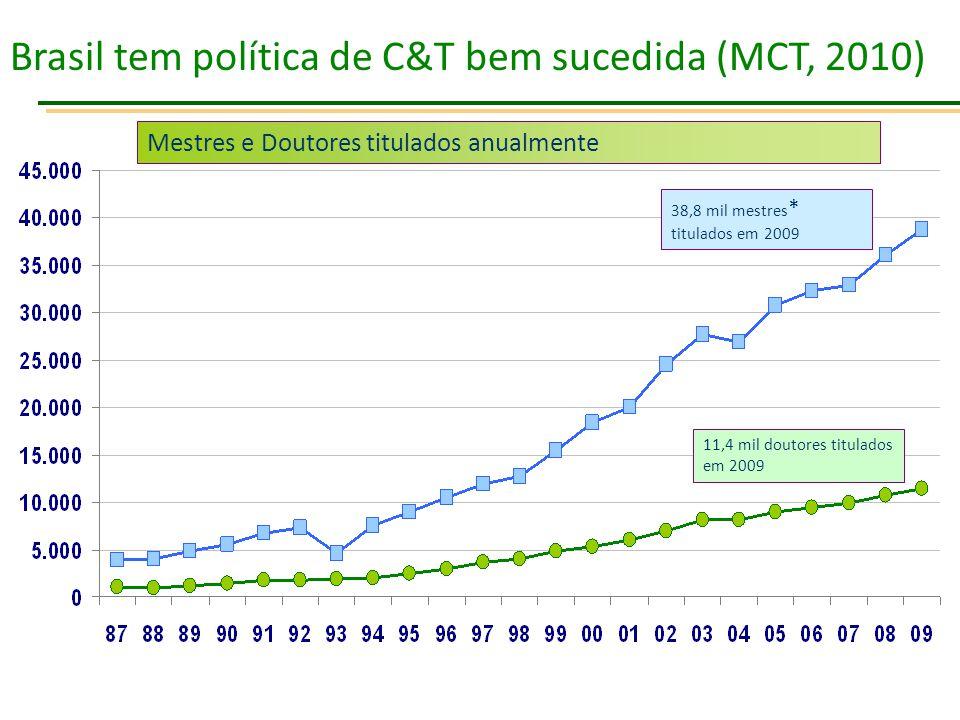 Brasil tem política de C&T bem sucedida (MCT, 2010)