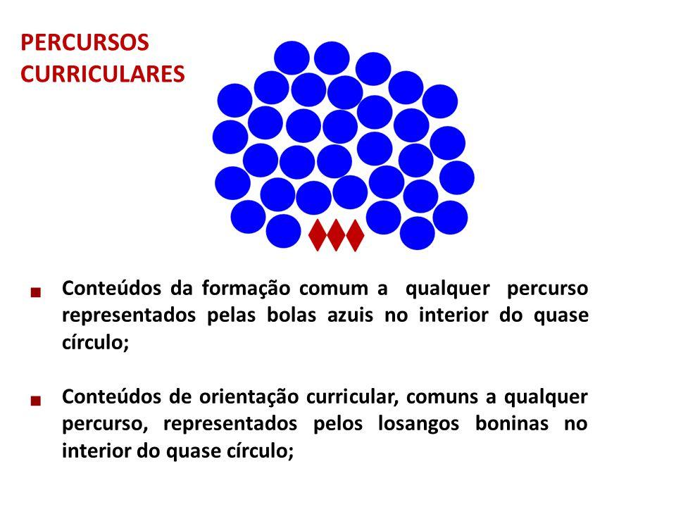 PERCURSOS CURRICULARES. Conteúdos da formação comum a qualquer percurso representados pelas bolas azuis no interior do quase círculo;