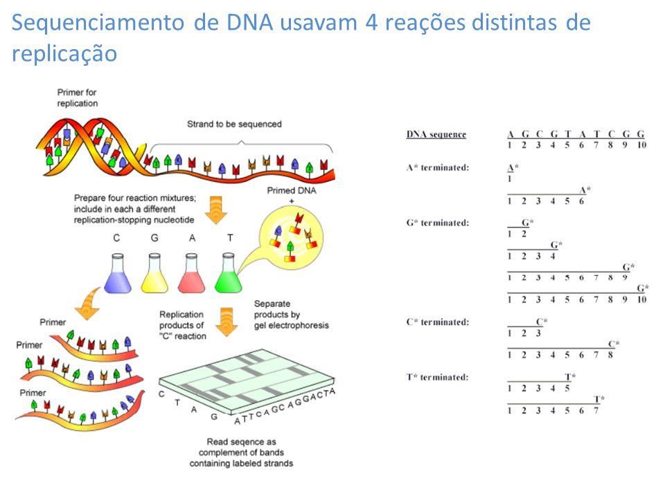 Sequenciamento de DNA usavam 4 reações distintas de replicação