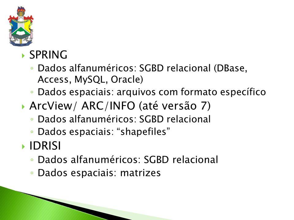 IDRISI SPRING ArcView/ ARC/INFO (até versão 7)