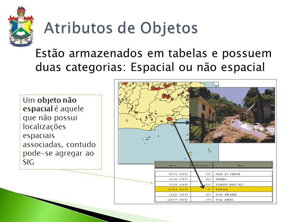 Atributos de Objetos Estão armazenados em tabelas e possuem duas categorias: Espacial ou não espacial.