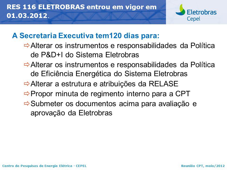 A Secretaria Executiva tem120 dias para: