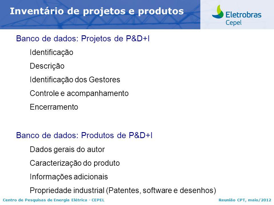 Inventário de projetos e produtos