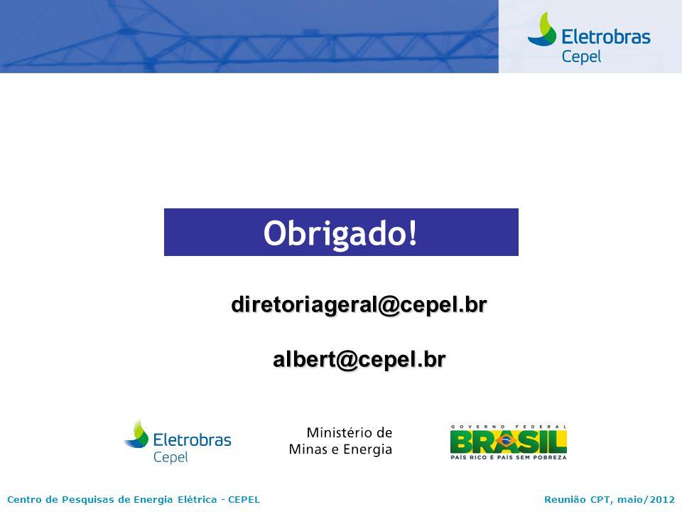 Obrigado! diretoriageral@cepel.br albert@cepel.br