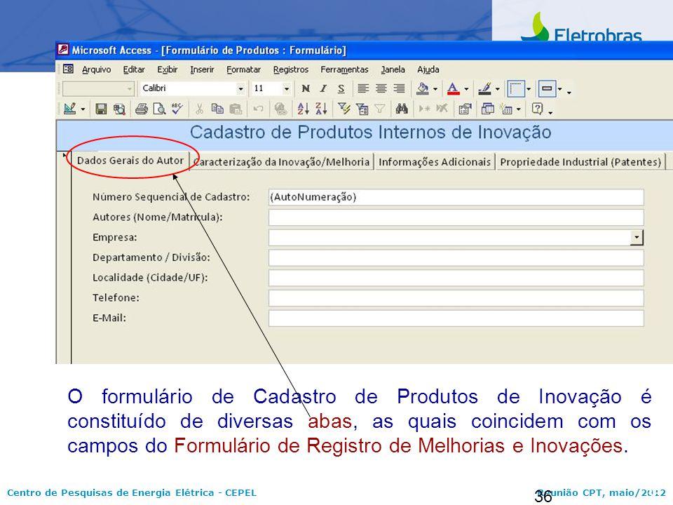 O formulário de Cadastro de Produtos de Inovação é constituído de diversas abas, as quais coincidem com os campos do Formulário de Registro de Melhorias e Inovações.