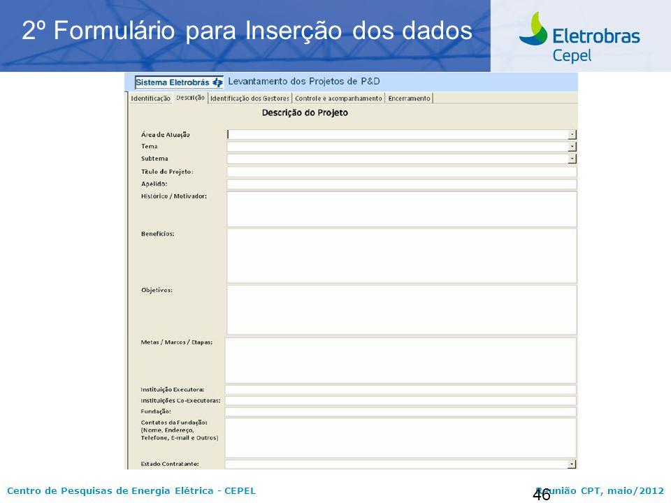 2º Formulário para Inserção dos dados