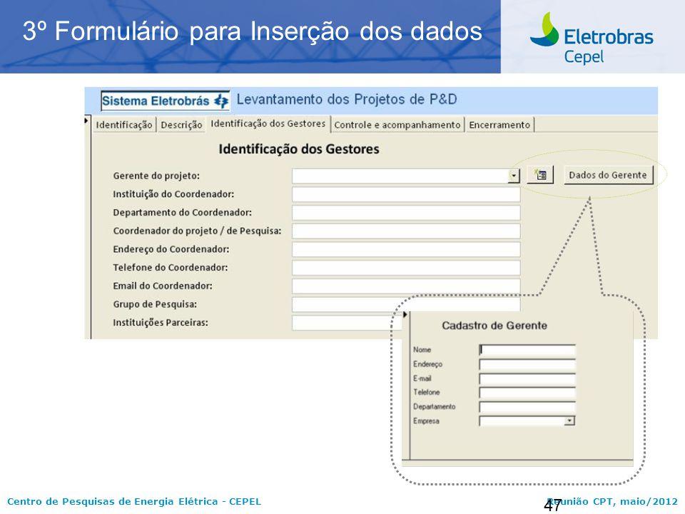 3º Formulário para Inserção dos dados