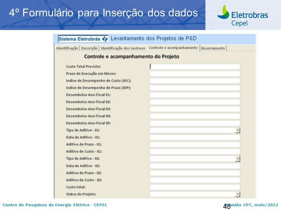 4º Formulário para Inserção dos dados