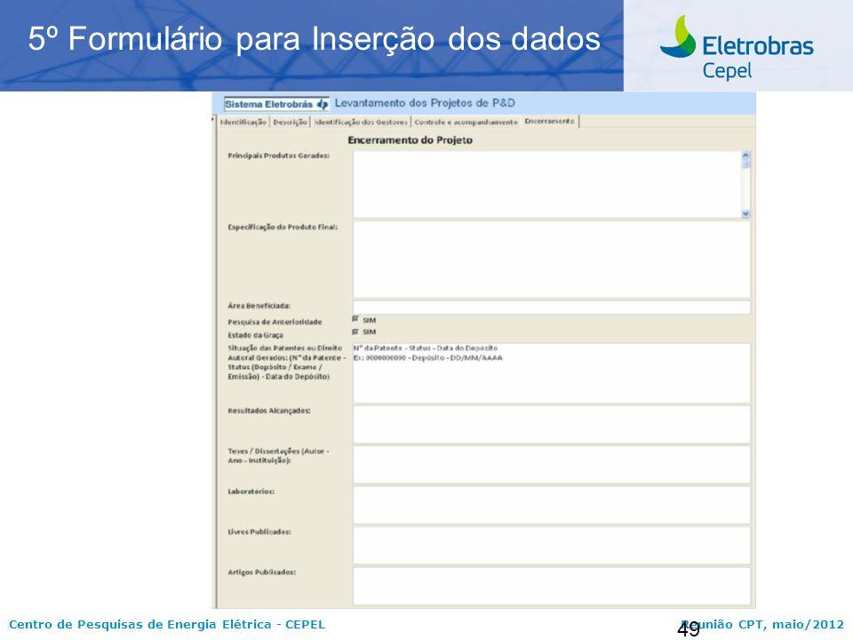 5º Formulário para Inserção dos dados