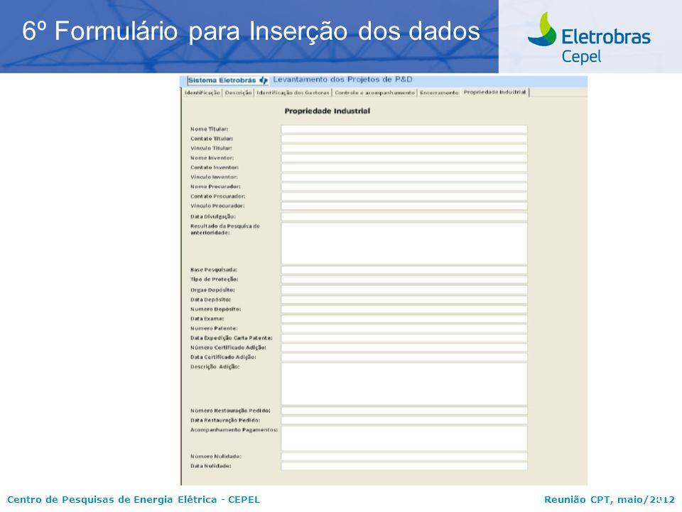 6º Formulário para Inserção dos dados