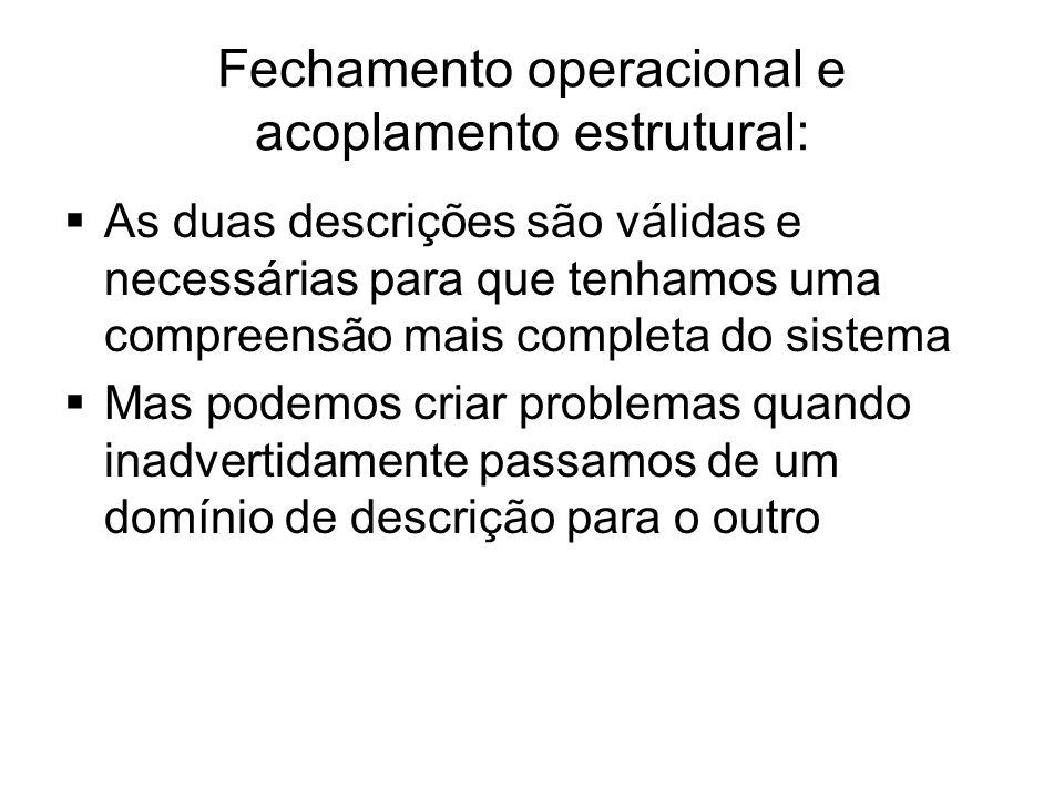 Fechamento operacional e acoplamento estrutural:
