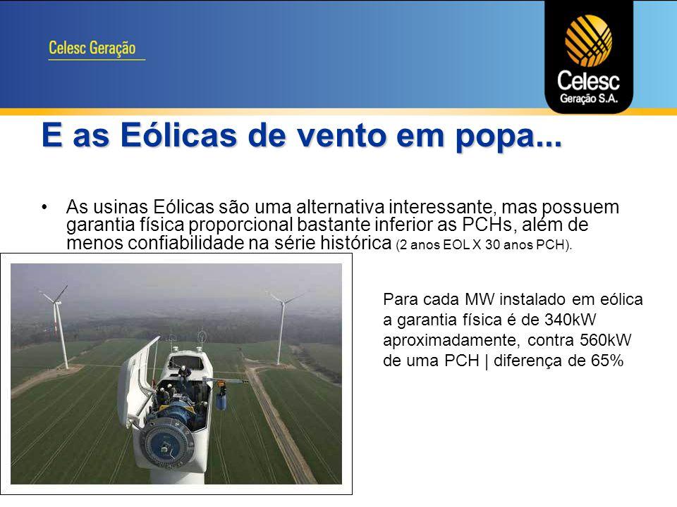 E as Eólicas de vento em popa...