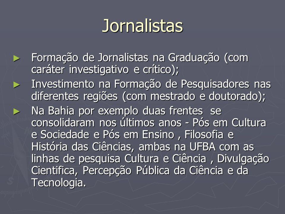 Jornalistas Formação de Jornalistas na Graduação (com caráter investigativo e crítico);