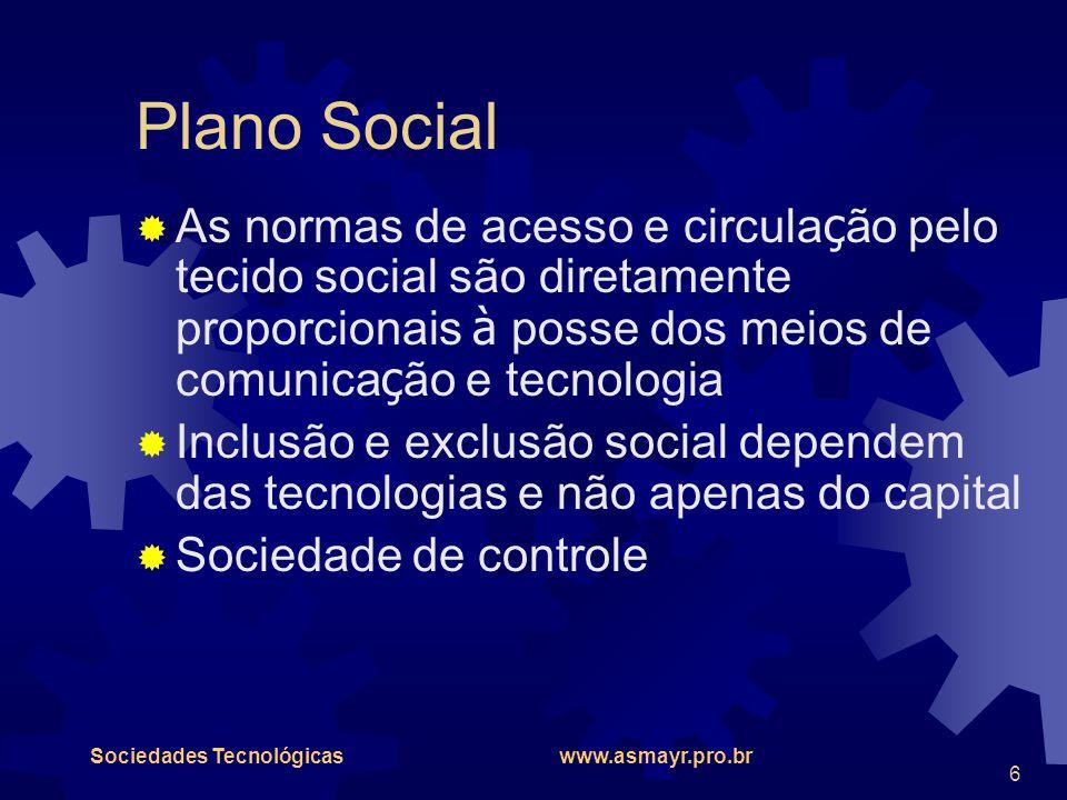 Plano Social As normas de acesso e circulação pelo tecido social são diretamente proporcionais à posse dos meios de comunicação e tecnologia.