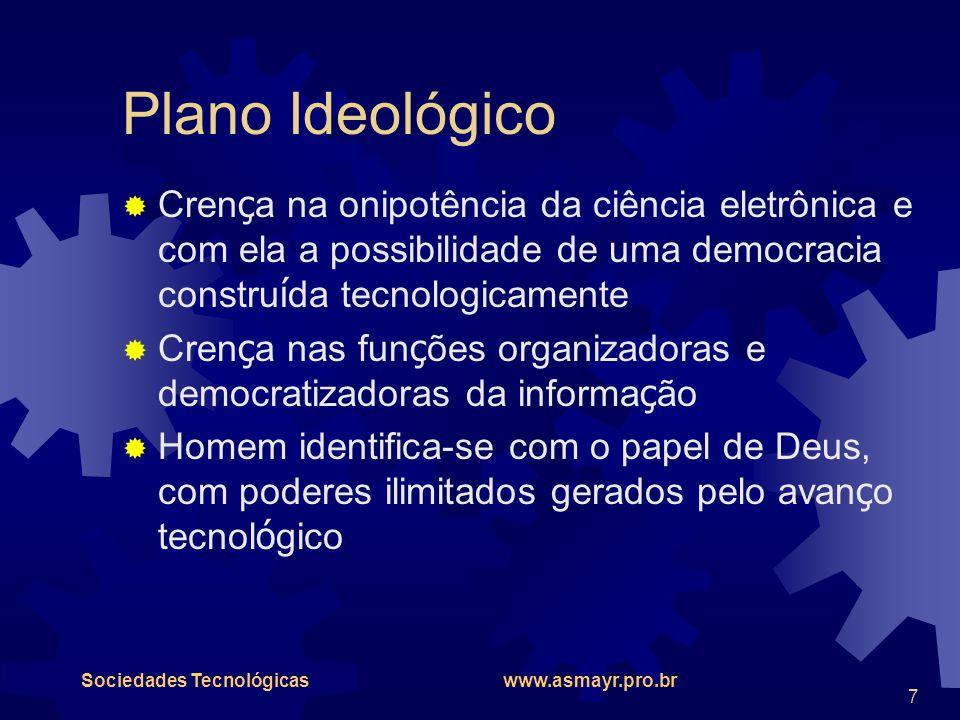 Plano Ideológico Crença na onipotência da ciência eletrônica e com ela a possibilidade de uma democracia construída tecnologicamente.