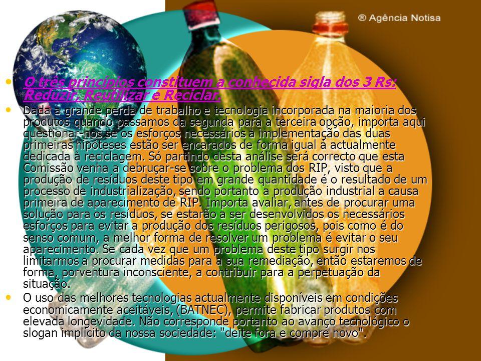 O três princípios constituem a conhecida sigla dos 3 Rs: Reduzir, Reutilizar e Reciclar.