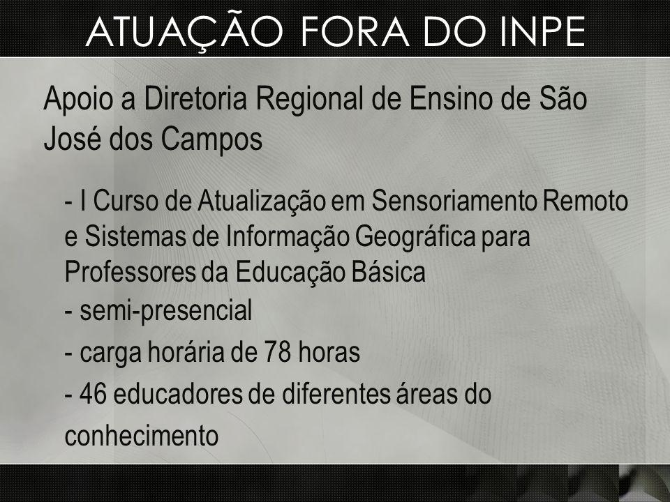 ATUAÇÃO FORA DO INPE Apoio a Diretoria Regional de Ensino de São José dos Campos.