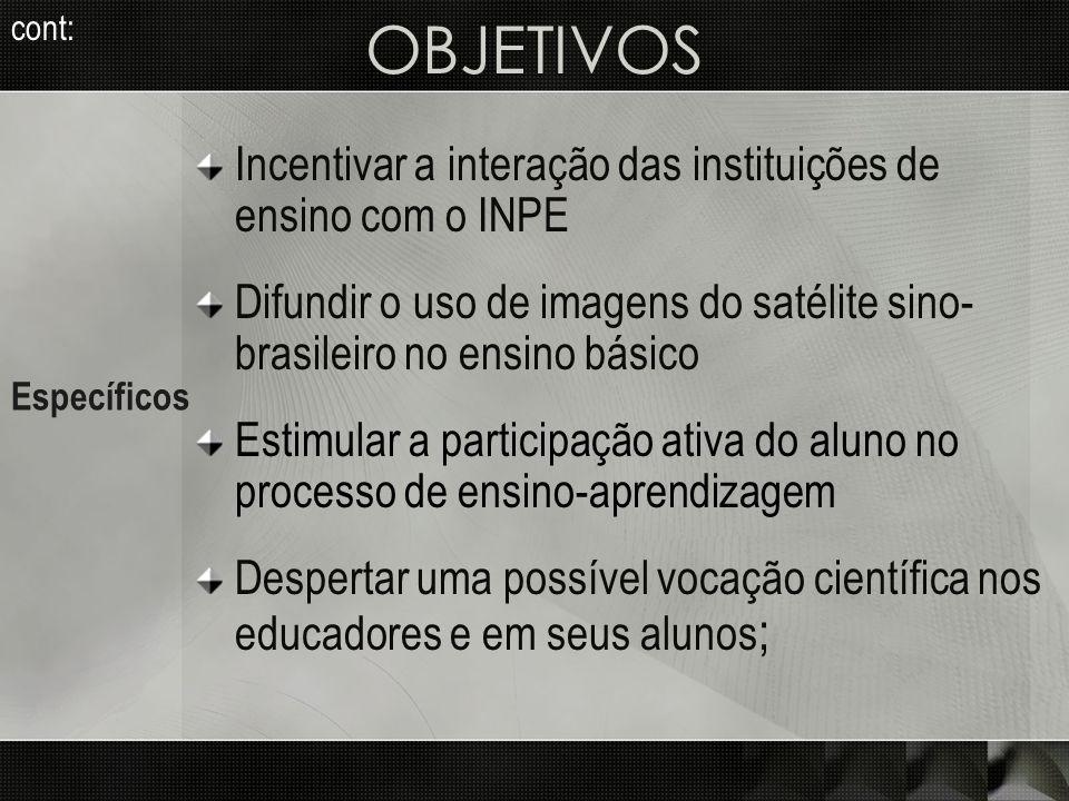 OBJETIVOS Incentivar a interação das instituições de ensino com o INPE