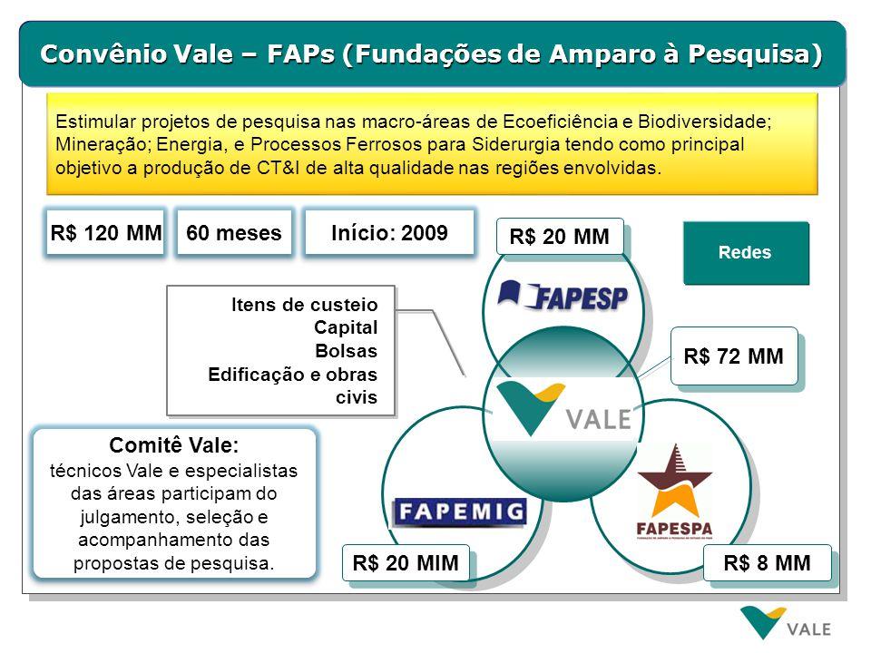 Convênio Vale – PUC - SP R$ 1,1 MM 48 meses Início: 2011 R$ 1,1 MM