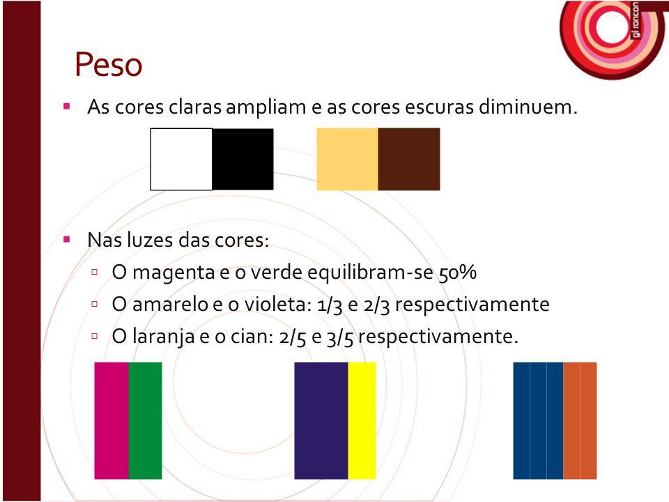 Peso As cores claras ampliam e as cores escuras diminuem.