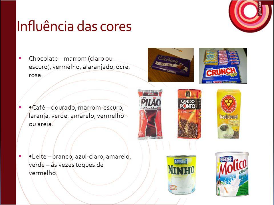 Influência das cores Chocolate – marrom (claro ou escuro), vermelho, alaranjado, ocre, rosa.
