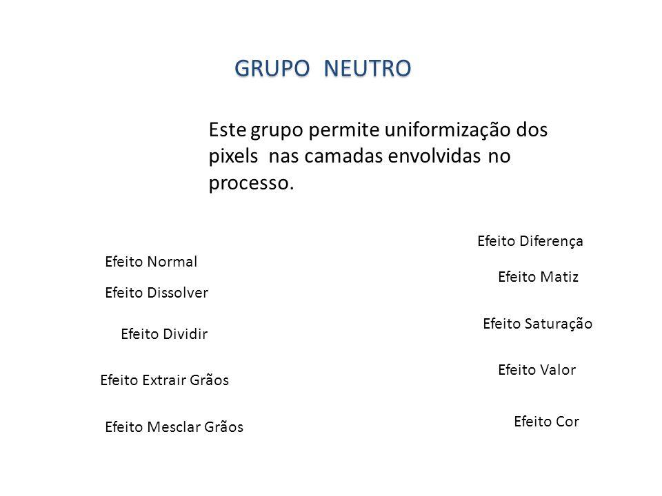 Grupo neutro Este grupo permite uniformização dos pixels nas camadas envolvidas no processo. Efeito Diferença.