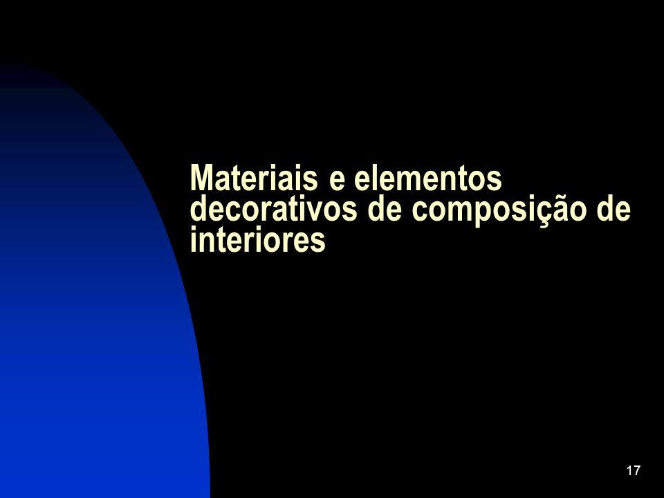 Materiais e elementos decorativos de composição de interiores