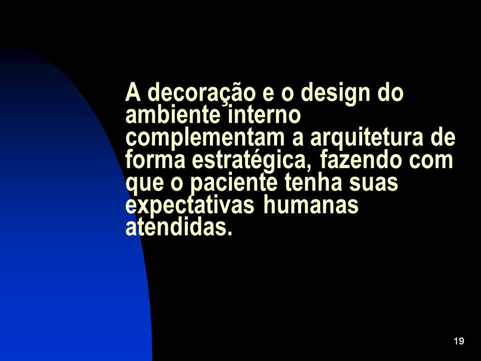 A decoração e o design do ambiente interno complementam a arquitetura de forma estratégica, fazendo com que o paciente tenha suas expectativas humanas atendidas.