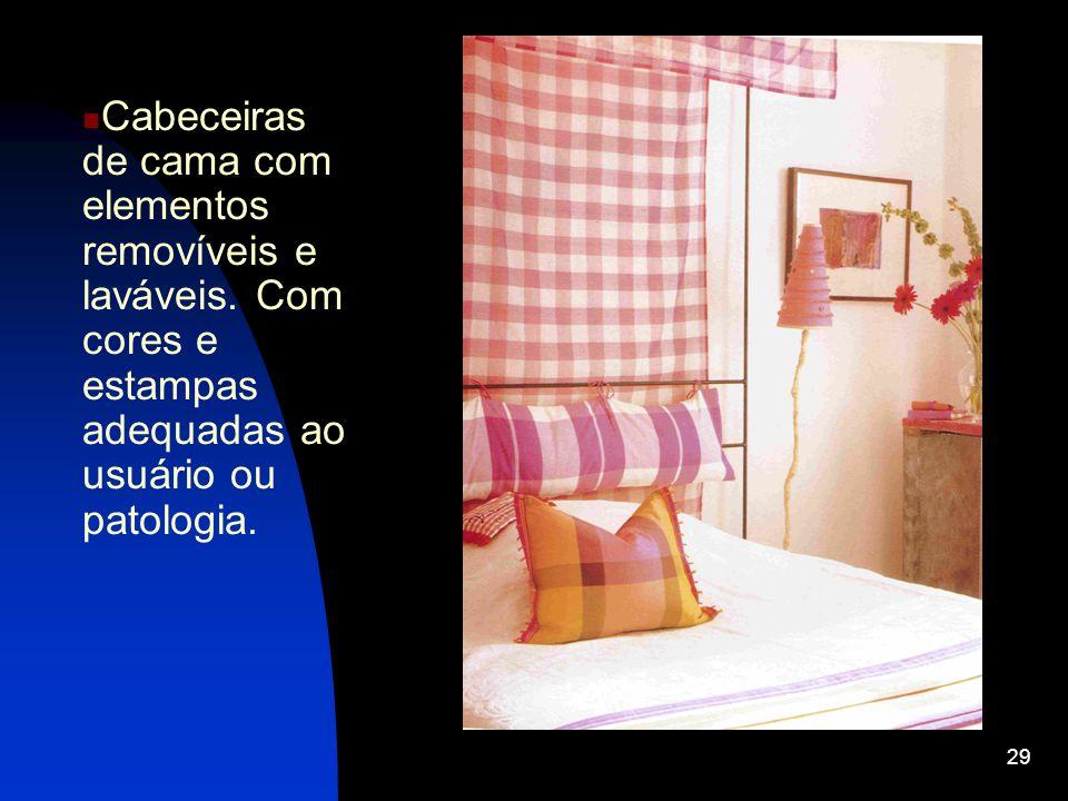 Cabeceiras de cama com elementos removíveis e laváveis