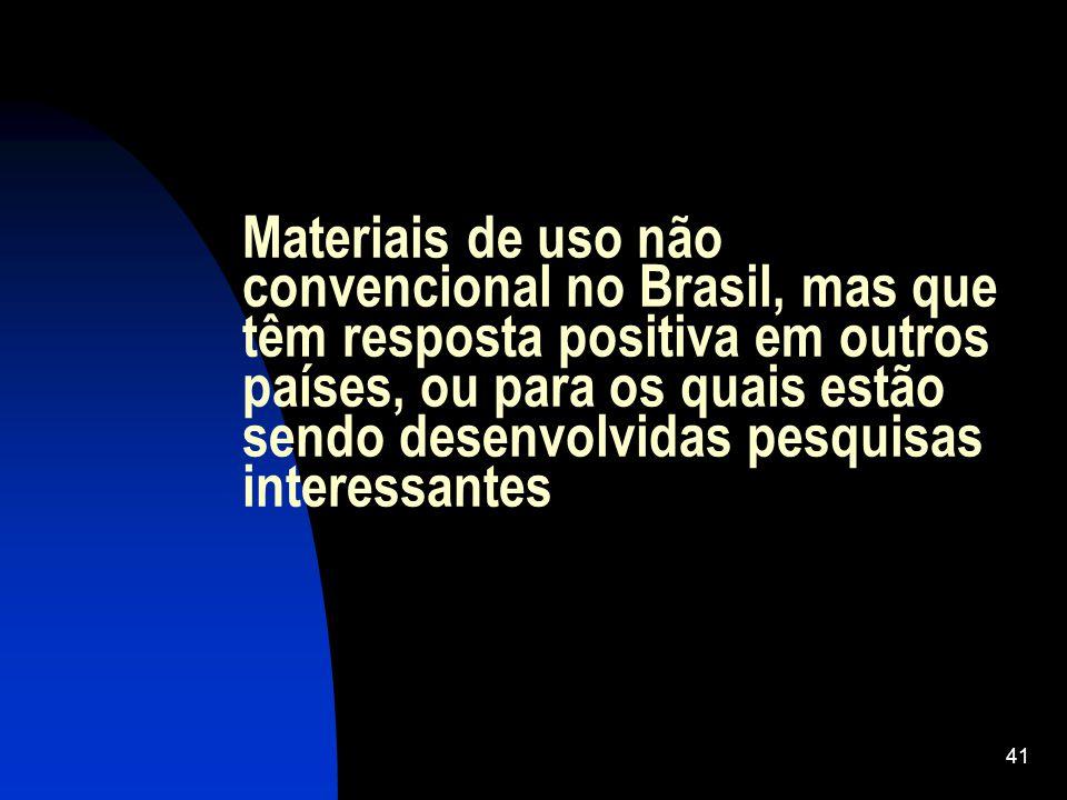 Materiais de uso não convencional no Brasil, mas que têm resposta positiva em outros países, ou para os quais estão sendo desenvolvidas pesquisas interessantes