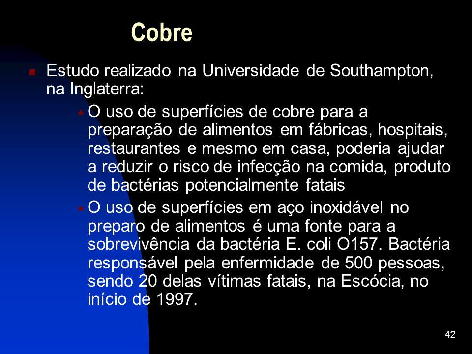 Cobre Estudo realizado na Universidade de Southampton, na Inglaterra:
