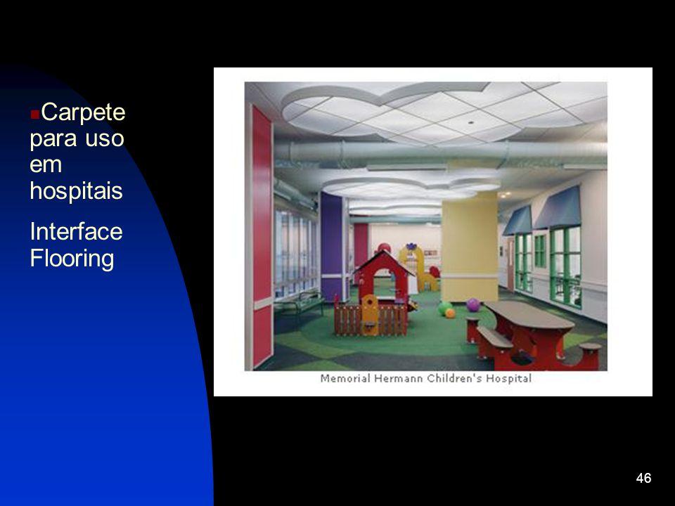 Carpete para uso em hospitais