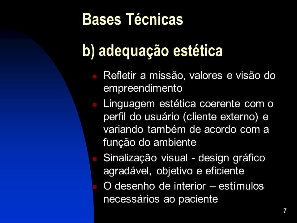 Bases Técnicas b) adequação estética
