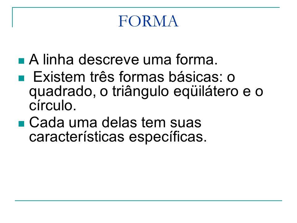FORMA A linha descreve uma forma.