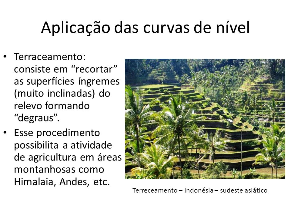 Aplicação das curvas de nível